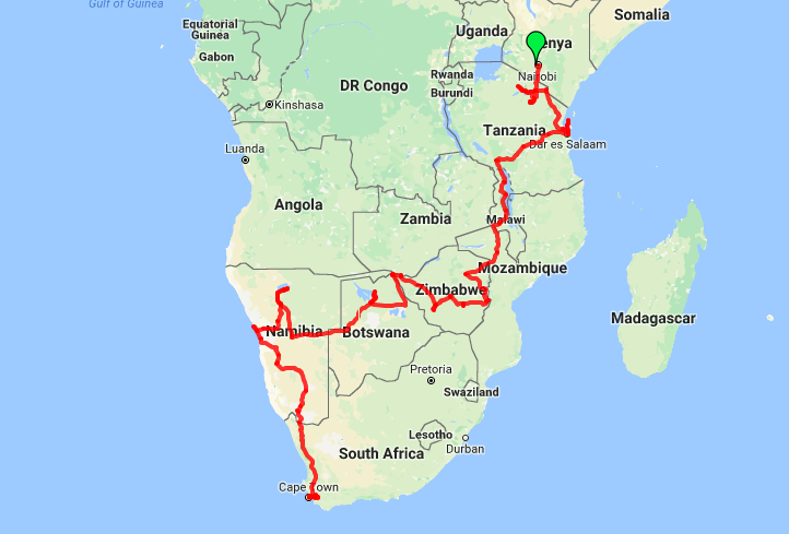 Oasis Overland Nairobi to Cape Town Itinerary Route Map