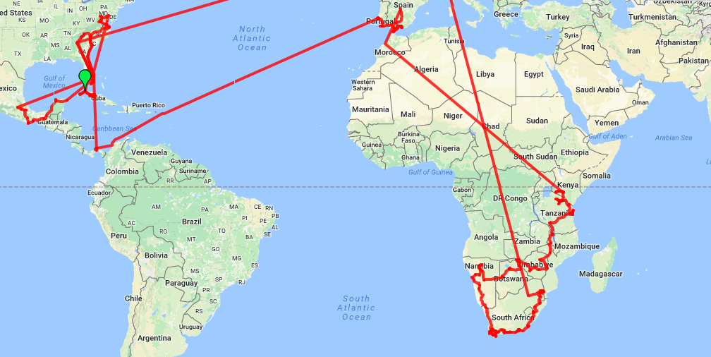 Year 3 Travel Route Map Roaming Around the World