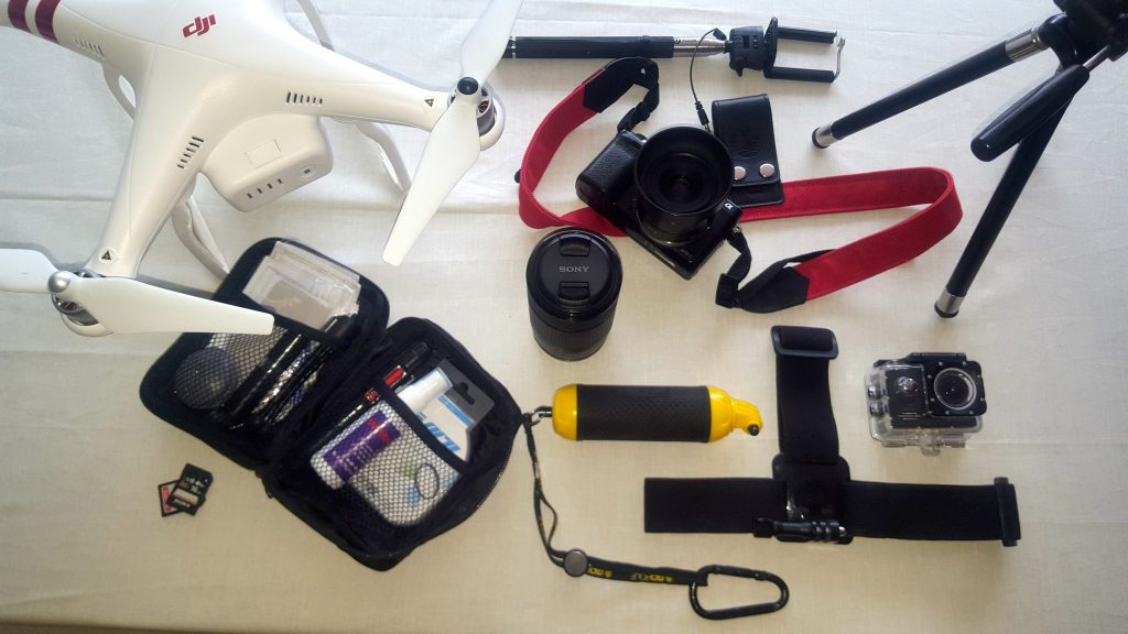 Camera Gear to travel with includes Drone, GoPro, Sony Camera, Selfie Stick, and Tri-pod