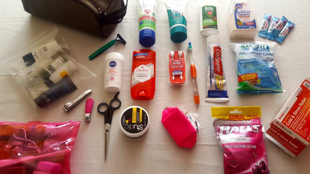 Toiletries to pack for a trip include toothbrush, toothpaste, medicine, make-up, sun screen, mosquito repellent, bandaids, deodorant, sewing kit, razors, and much more