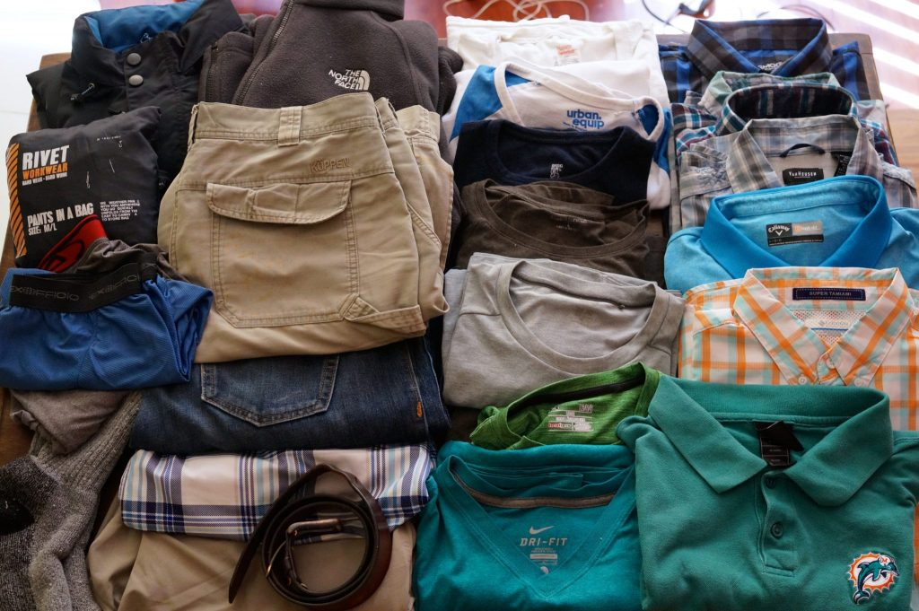 Men's Travel Clothing Pack List and Recommendations for a trip: dry wicking clothes, warm clothes, jeans or no jeans, bathing suit, underwear, cargo shorts, dress shirts, and more
