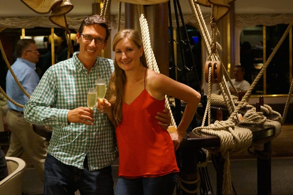 This is us (John & Heather) on the cruise ship as we now give this Pullmantur Monarch review