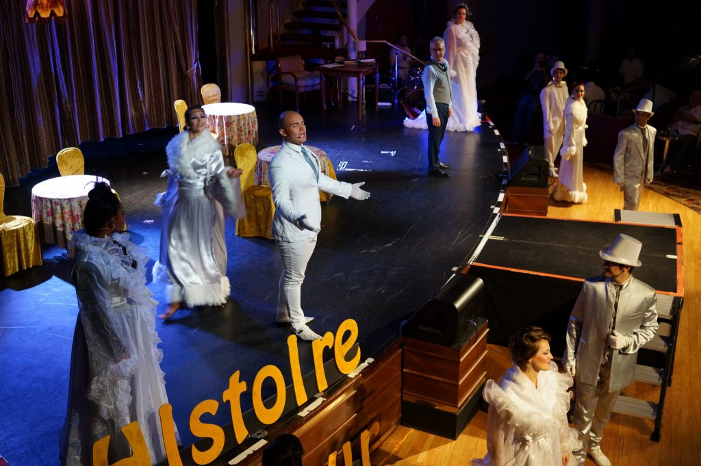 On stage at the nightly theatre performance on Pullmantur Monarch