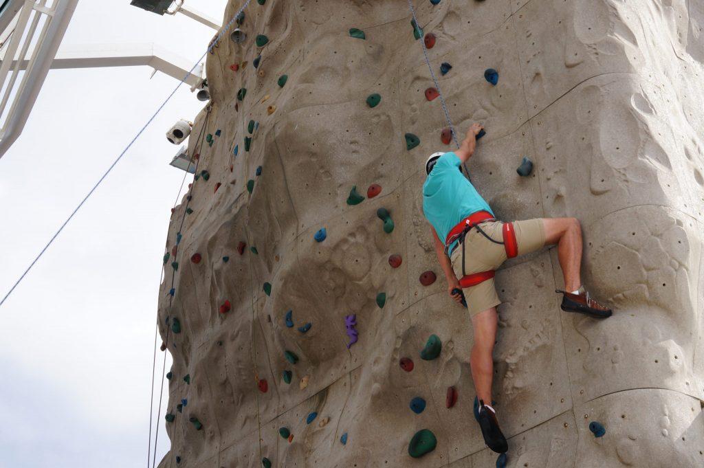 rock climbing on the Pullmantur Monarch