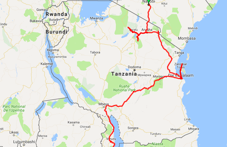 this is the overland route across Tanzania we took with Oasis Overland
