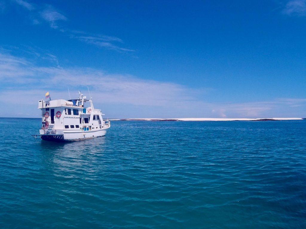 A Galapagos tourist class ship on tour