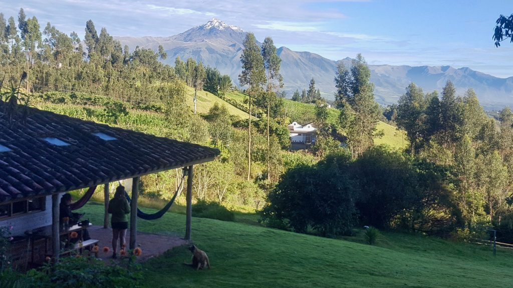 La Luna Lodge in Lagunas de Mojanda near Otavalo with volcano in the background - great place to stay
