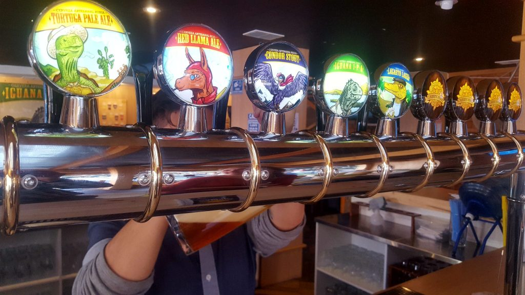 Camino del Sol Craft Beer taps in Quito