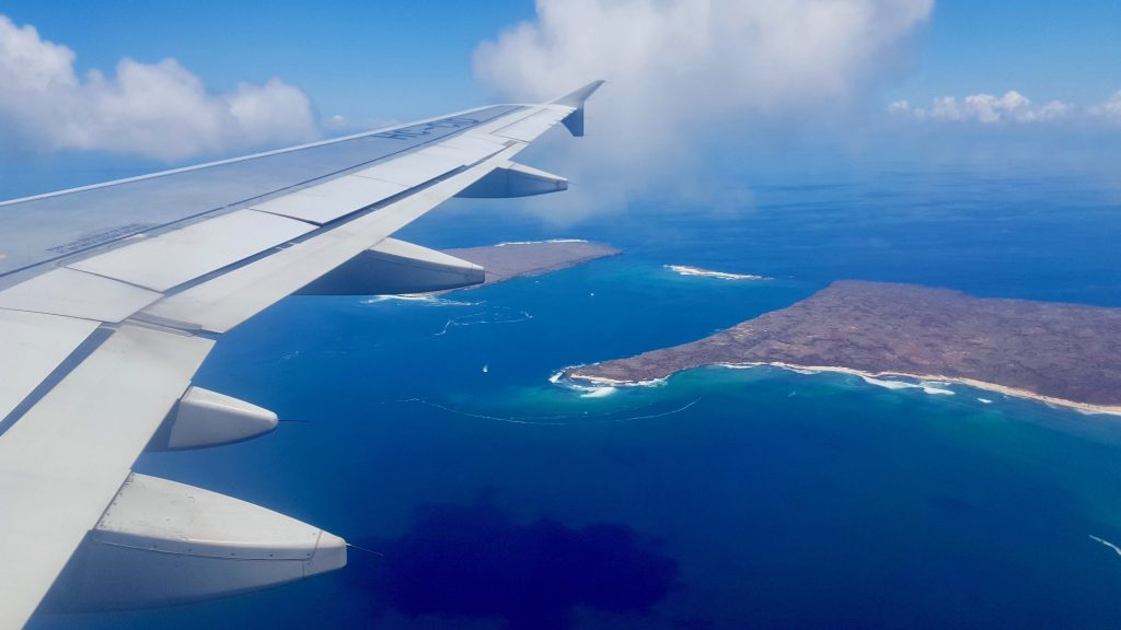 View of Galapagos from plane window on our cheap flight to the Galapagos