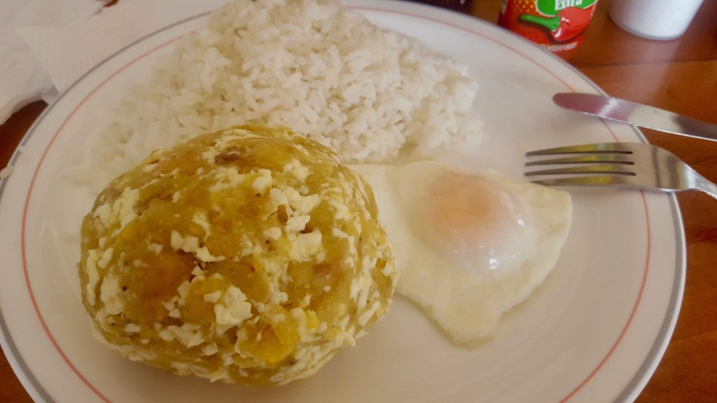 Bolon is a traditional cheap breakfast in the Galapagos of plantains and cheese