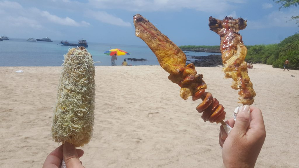 Grilled corn and chicken is a cheap lunch option at Playa Mann San Cristobal Galapagos