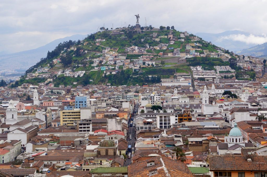 El Panecillo hill is Quito Ecuador with Winged Virgin Mary on top