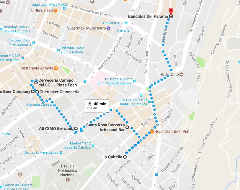 Map of Quito Craft Beer Pub Crawl Route