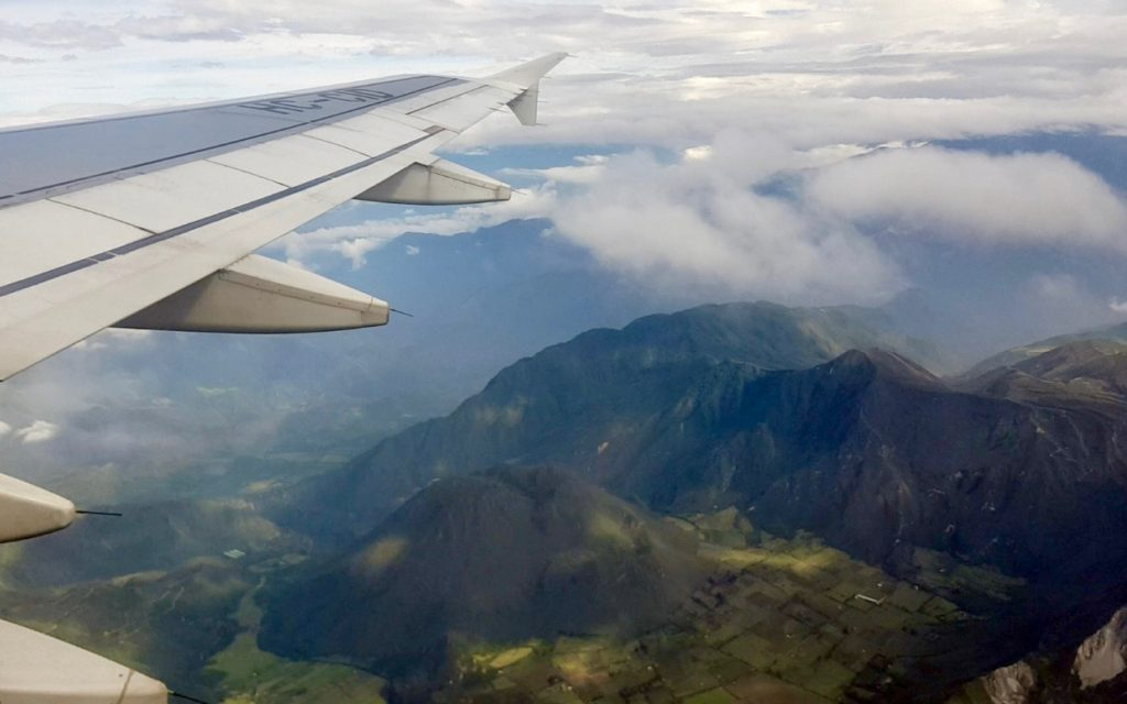 Andes mountains during our cheap flight to Quito