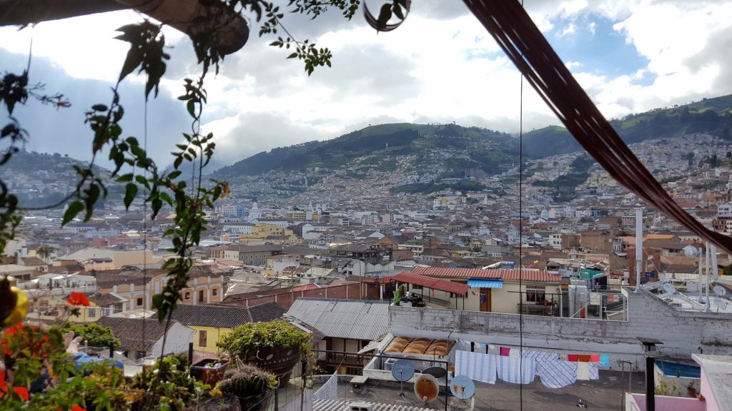 Secret Garden Hostel in Quito rooftop bar with a view of Old Town