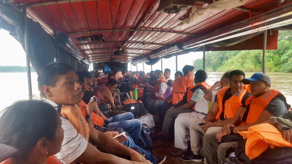 crowded Napo River boat from Coca to Nuevo Rocafuerte Ecuador