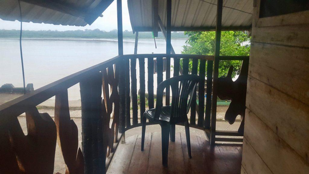 Nuevo Rocafuerte hostel balcony overlooking Napo River
