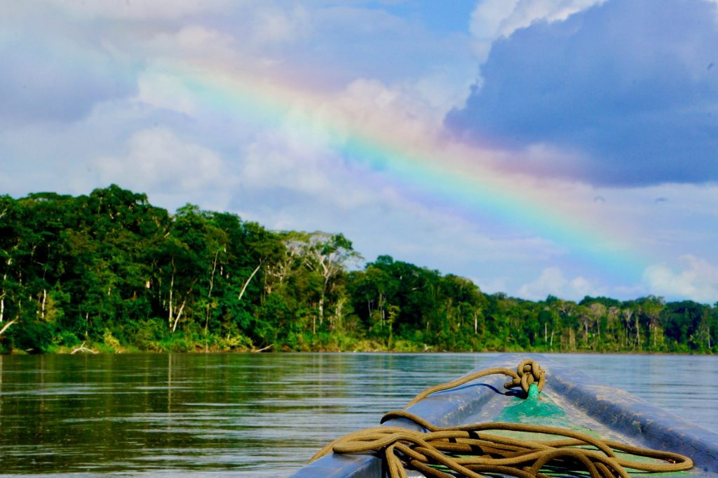 rainbow over the Napo river at the Peru-Ecuador border near Pantoja