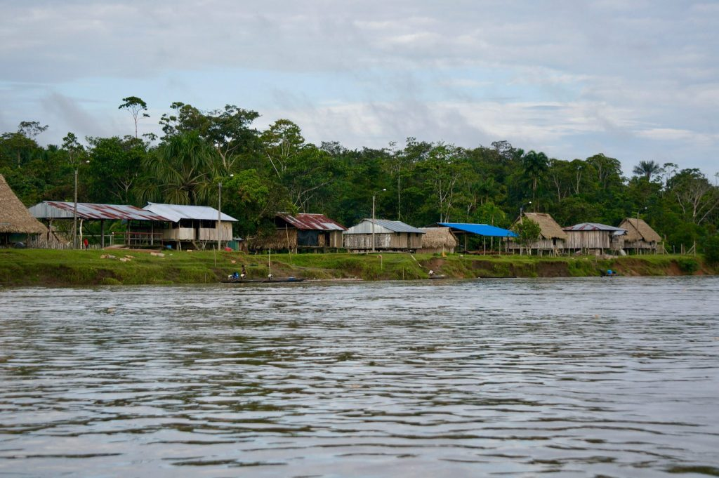 Amazon village on the Napo River into Peru by boat