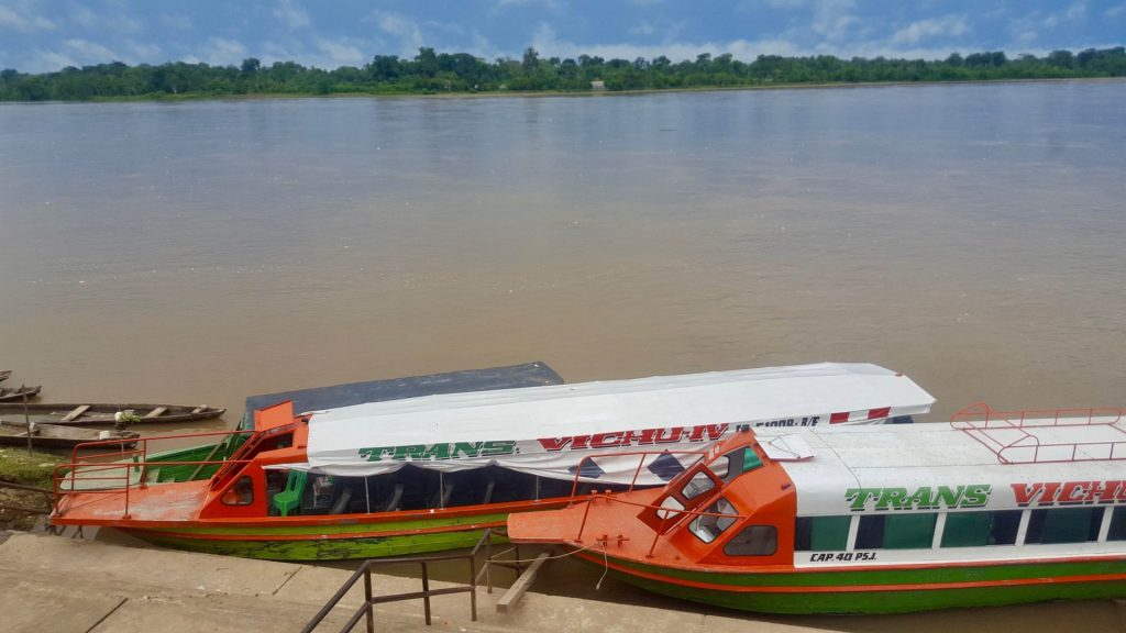 Fast boats docked on the Napo River