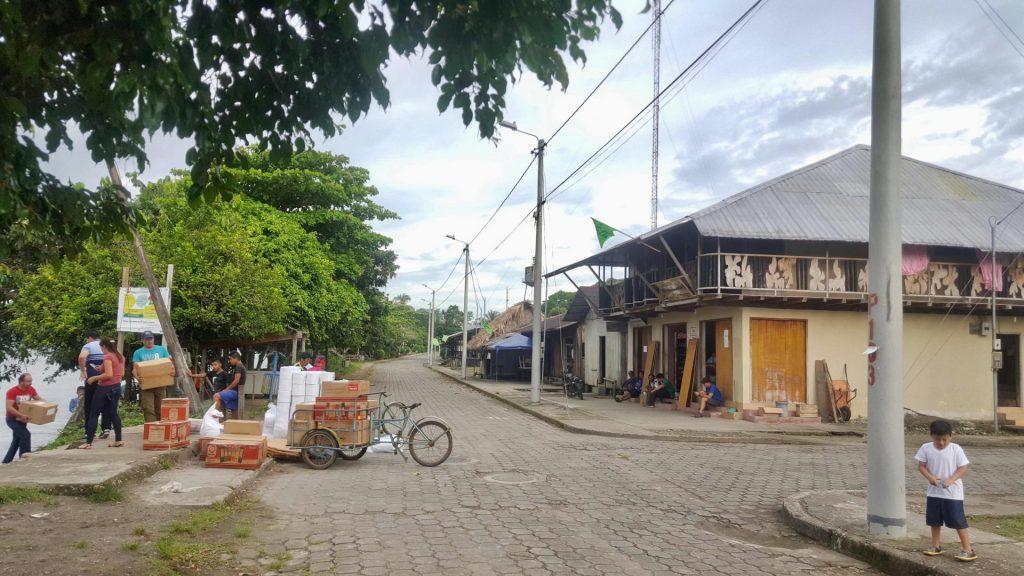 Loading supplies in Amazon village of Nuevo Rocafuerte Ecuador