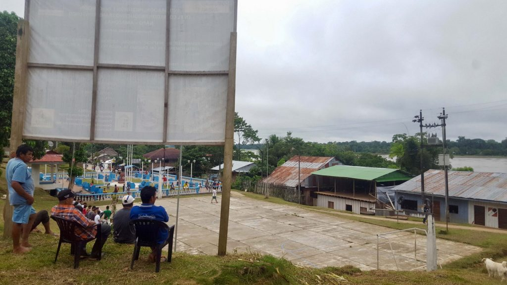 Santa Clotilde town, football field, and cemetery overlooking the Napo River