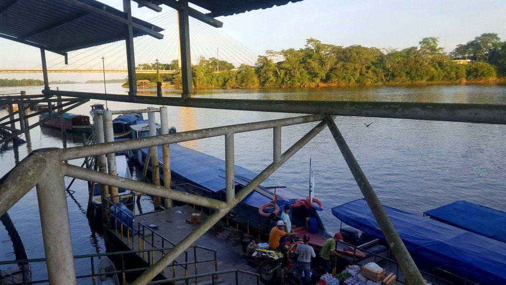 napo river boats loading supplies in Coca Ecuador