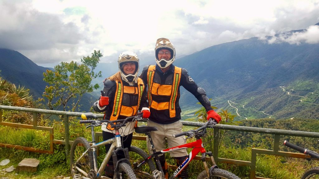 John & Heather in full gear for the Jungle Trek Mountain Biking descent