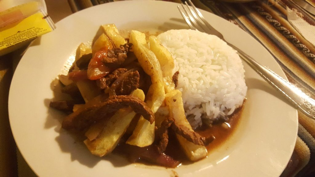 Lomo saltado meal during Jungle Trek