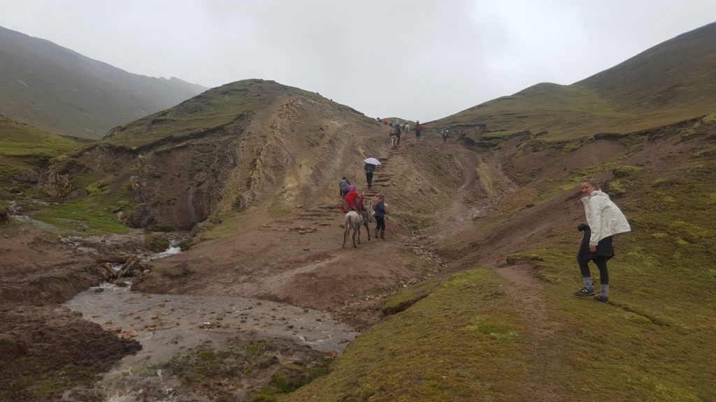 Rainbow Mountain trail in rain