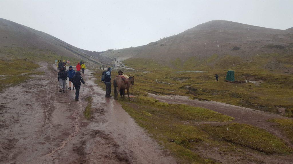 Trek Up Rainbow Mountain Peru in the Rain