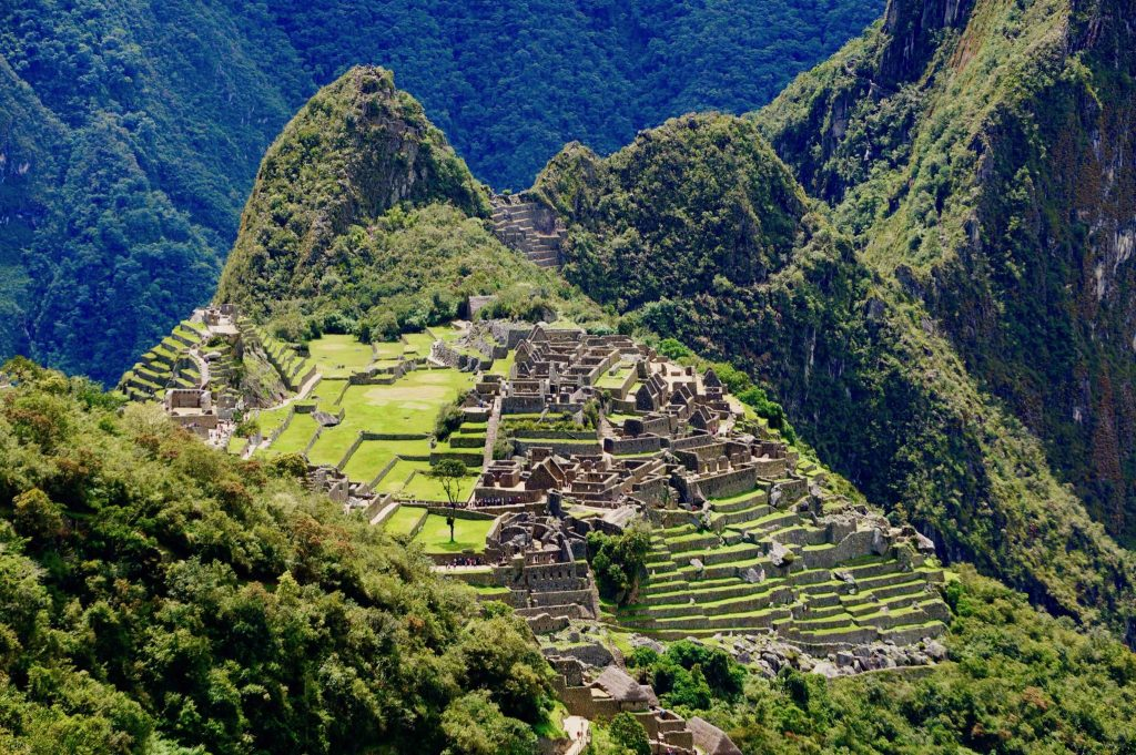 Machu Picchu as photographed from Machu Picchu Mountain (Montaña)