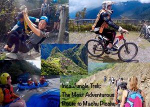 Inca Jungle Trek to Machu Picchu activities: ziplining, mountain biking, whitewater rafting, and hiking