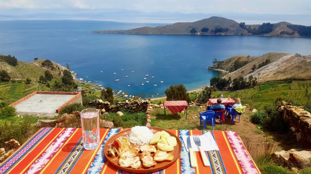 Lunch with a view at a Isla del Sol restaurant