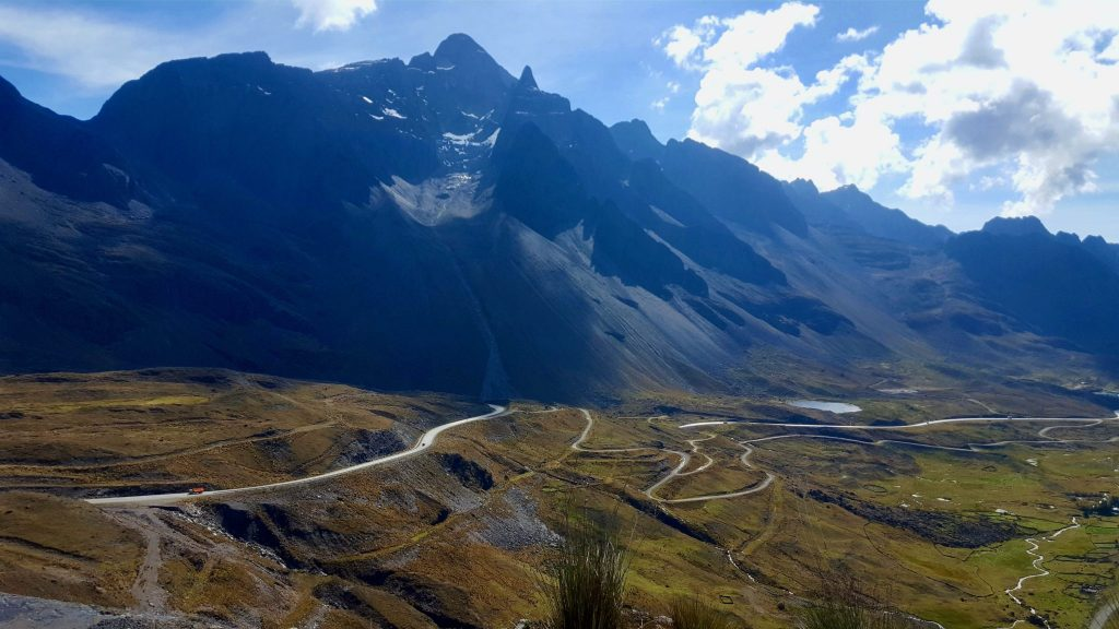 Paved Yungas Road through the Andes Mountains before Death Road Bolivia