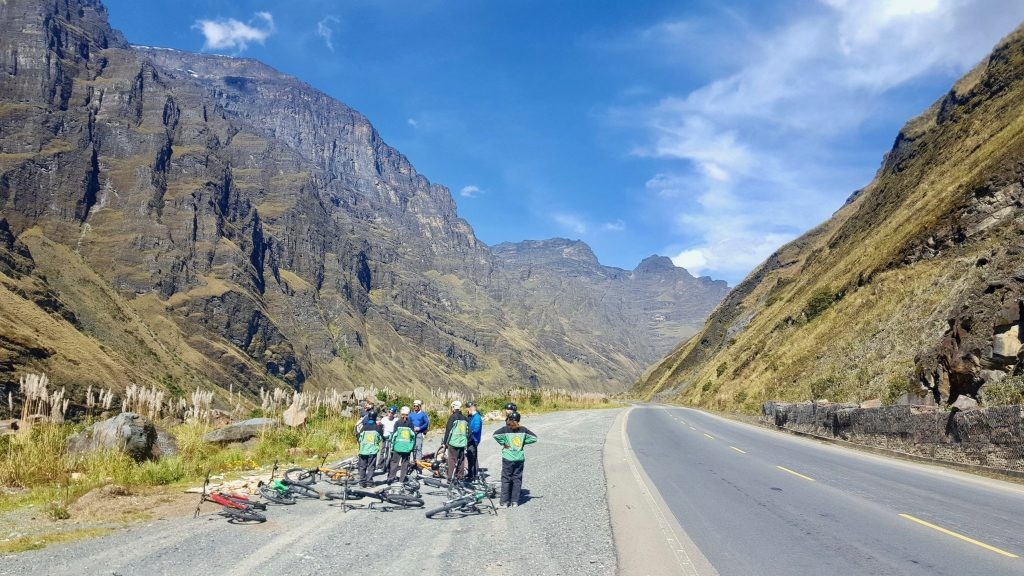 Cycling group waiting on side of Death Road