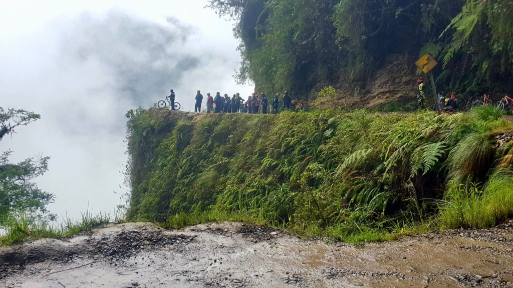 Death road Bolivia cliff