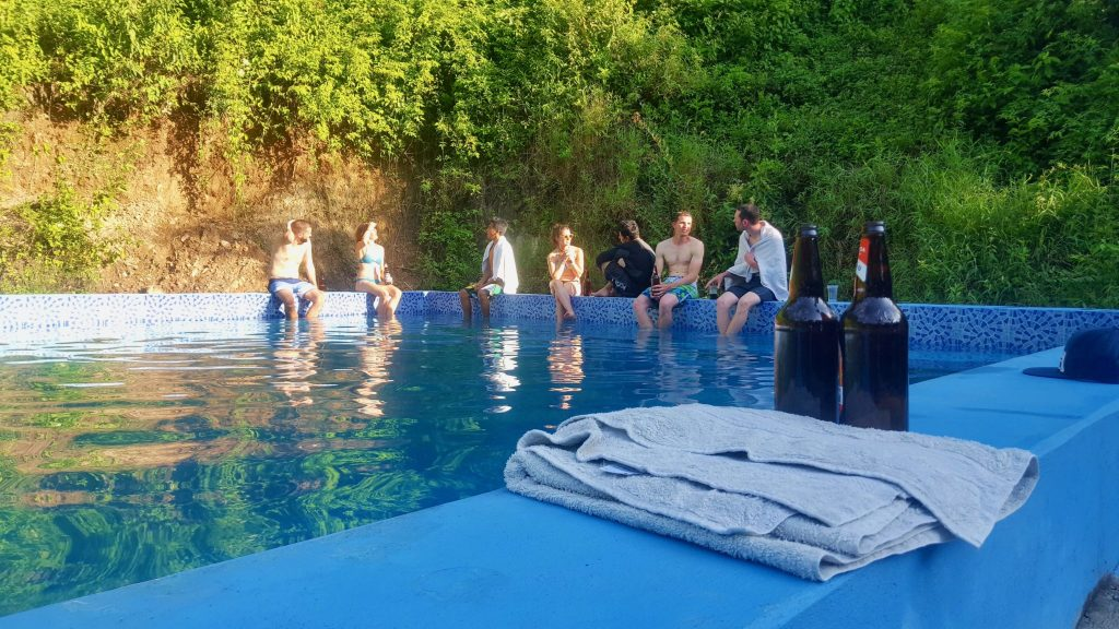 Pool party in Bolivia Yungas after surviving Death Road