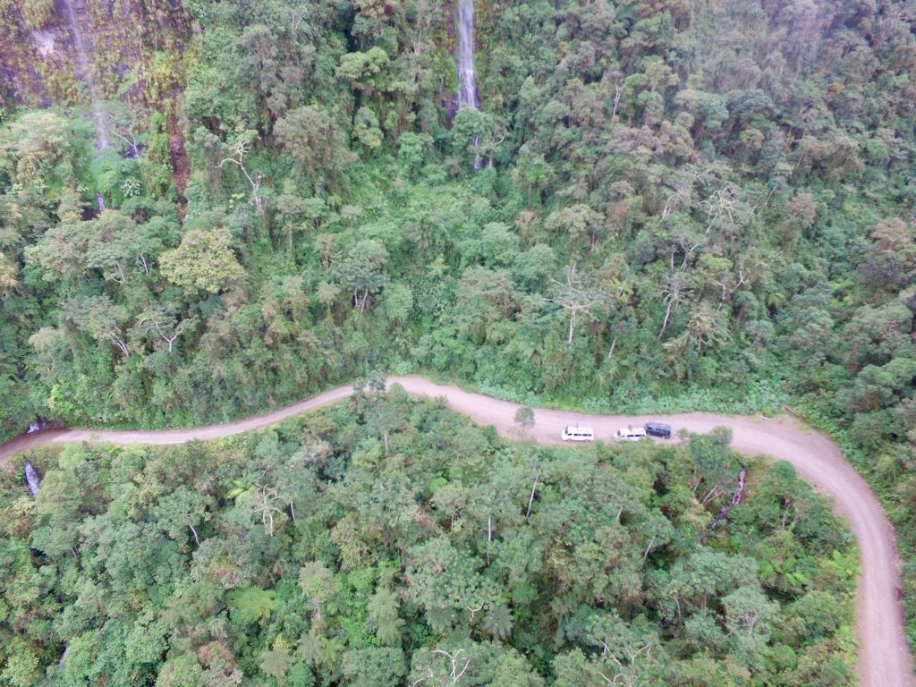 Death Road Bolivia from a drone