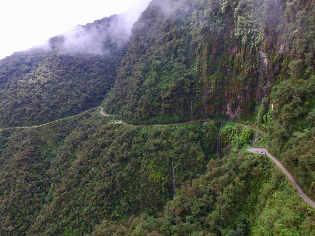 Death Road Bolivia as shot from a drone