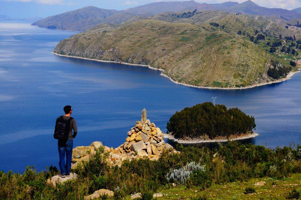 Isla del Sol alone on the island in Lake Titicaca Bolivia