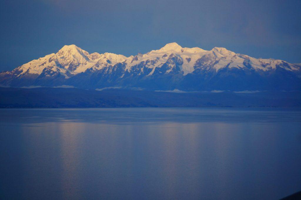 Cordillera Real mountains from Isla del Sol Bolivia