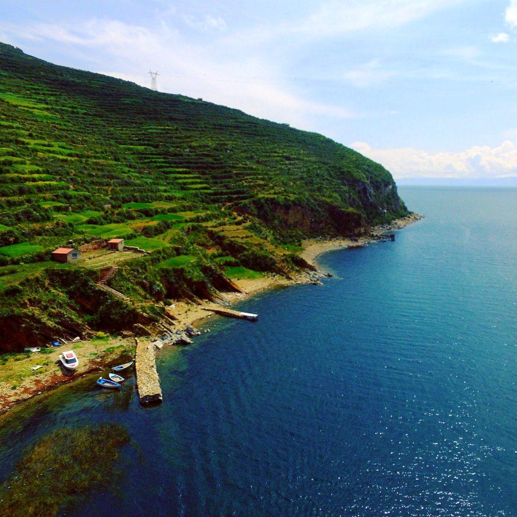 Isla del Sol Bolivia from drone