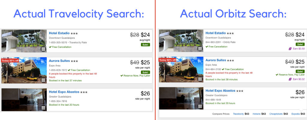 Orbitz vs Travelocity Hotel Search