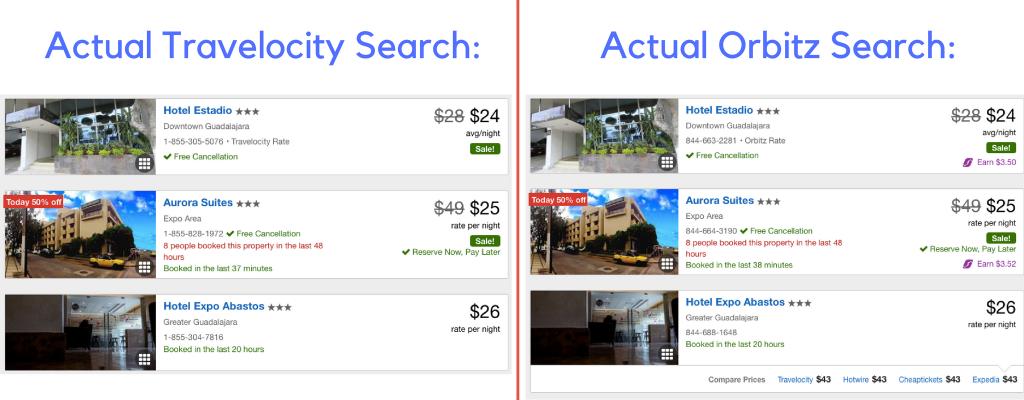 Orbitz vs Travelocity Hotel Search