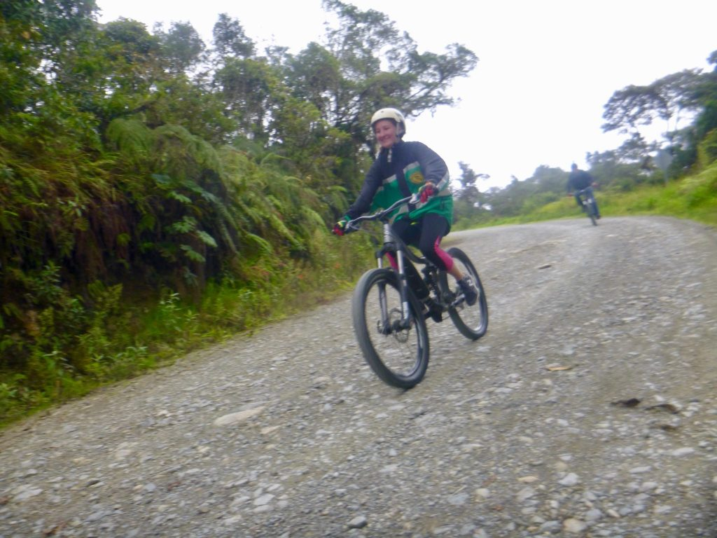 Heather mountain biking Death Road Bolivia