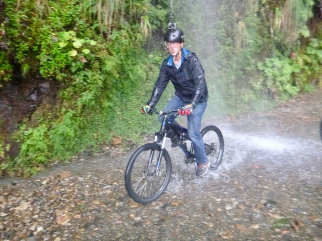 River crossing with waterfall on Death Road Bolivia