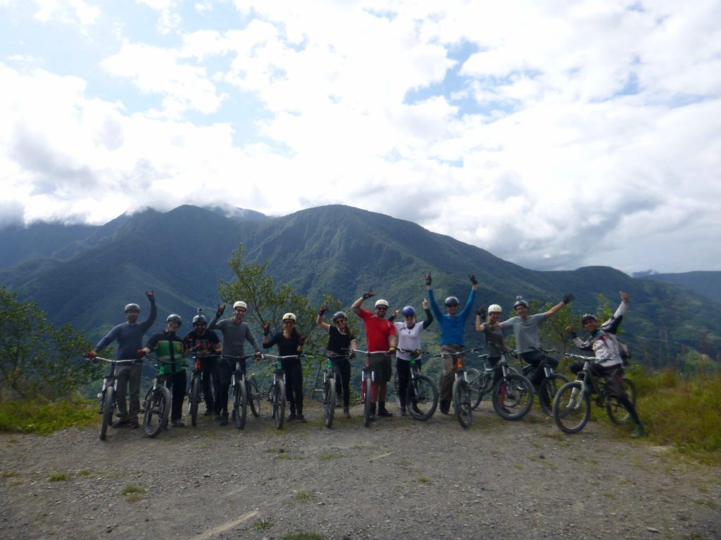 Death Road mountain biking group with Barracuda Biking