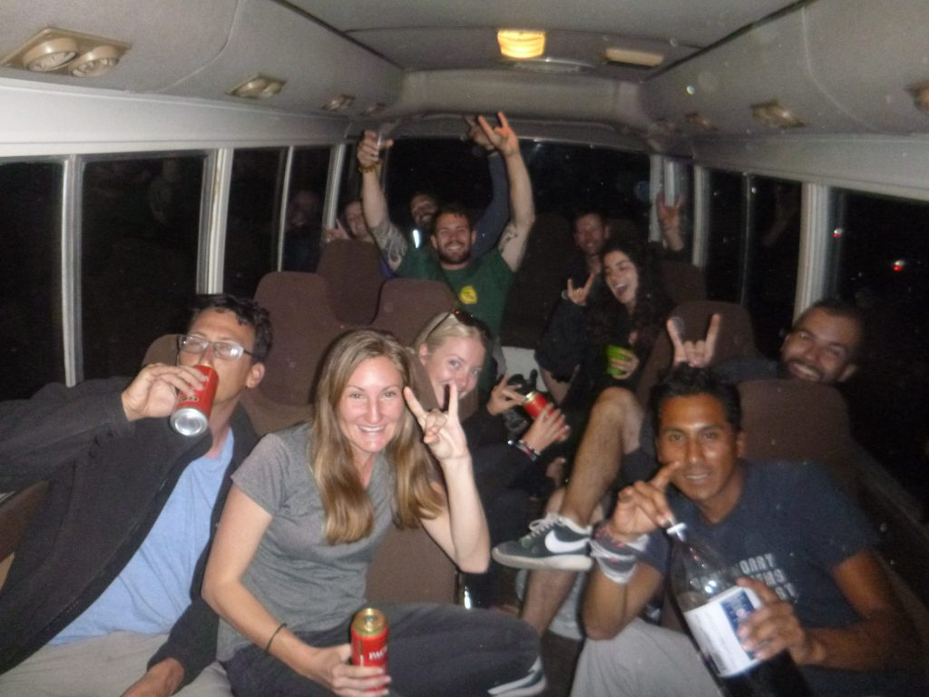 Death Road afterparty in the van ride back to La Paz Bolivia