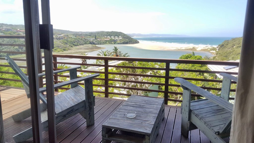 Hostel balcony overlooking Wild Coast that we found while search the best hotel websites